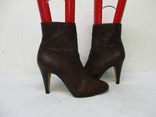 Banana Republic Brown Leather Zip High Heel Ankle Boots Size 10