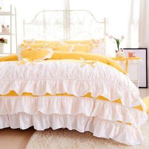 2021 Korean Style Princess 100% Cotton Bedding Set with White Ruffle Home Top