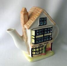Teapot Shop Asian Pot Canister Ceramic China House Roof Lid Decor Tea Village