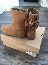 Girls Chestnut Brown Suede Genuine Ugg Boots Size 1 Hardly Worn With Box