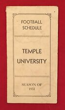 Antique 1931 Temple University Football Pocket Schedule Early 1930s Philadelphia