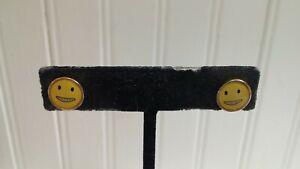 Goldtone Metal Yellow Happy Emoji Face Disk Stud Post Pierced Earrings