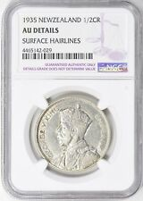 New Zealand 1935 1/2 Crown Ngc Au Details Silver Coin