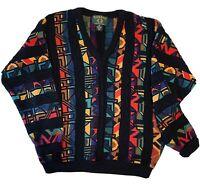Vtg 90's Tosani Biggie 3D Colorful Sweater M  Coogi Style Hip Hop Cosby Texture