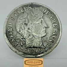 1893 Barber  Silver 10 Cents, Free Shipping - #C18863