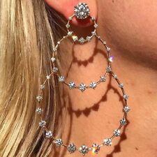 1 PC Punk Gold Big Rhinestone 3 Circle Dangle Earrings Women Bohemian Jewelry