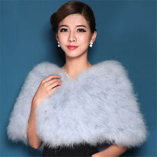 Women's Real Ostrich Feather Fur coat jacket bolero hairy bridal Christmas Gift