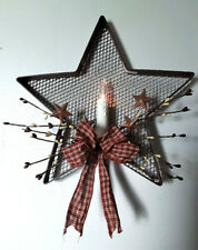 Rustic Metal Mesh Star Country Candle Sconce Wall Art with Stars Berries