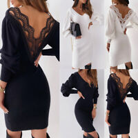 Women's V Neck Puff Sleeve Dress Sexy Lace Backless Knitted Slim Sweater Dresses