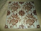 Lot of  5  Architectural Salvage 6  Tiles   Sepia Floral EUC