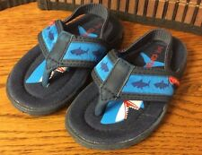 boys shark flip flops toddler size 5 blue beach sandals Carter's new F39