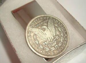 Morgan Dollar S-Mint Coin Token Not Silver Souvenir Silver Tone Money Clip w/Box