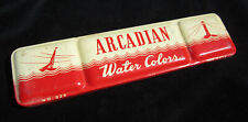 Vintage ARCADIAN WATER COLORS Red Metal Tin No. 525 Paints Lighthouse 10 Colors
