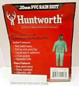 HUNTWORTH .20MM GREEN PVC JACKET & PANTS 2-PC RAIN SUIT, SIZE 3XL, NEW FREE SHIP