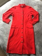 Encore Red Military Style Gold Buttons Lightweight Coat Size UK 12/US 8