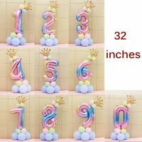17pcs/Set Number 0-9 Foil Balloon Crown Digit Air Ballon Birthday Party Decor