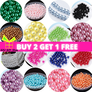 Pearl Beads Faux Glass Round 400 4-10mm Choose Colour Jewellery Making UK Craft