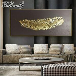 FULLCANG 5d diy full square/round drill large abstract golden feather diamond