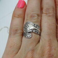 Fancy Spoon Ring - 925 Sterling Silver - Silver Spoon Handle Jewelry Utensil NEW