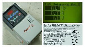 Low Hours Allen Bradley 22B-D4P0N104 PowerFlex 40 Drive Series A 6.01