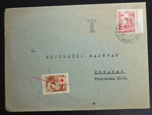Yugoslavia 1953 Red Cross Rotes Kreuz Stamp on Cover from Subotica Serbia A5