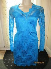 BNWT River Island Dress Size 8 £35 Bright Blue Sheer Lace Lined Scallop Edge NEW