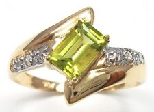 HOT 10KT YELLOW GOLD NATURAL PERIDOT & DIAMOND RING SIZE 7   R988