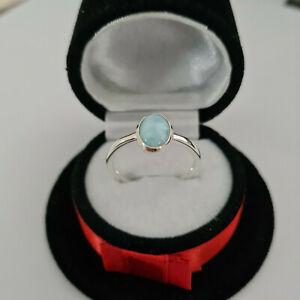 Larimar Solitaire Ring in Sterling Silver