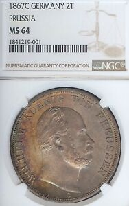 German States Prussia 1867 C 2 Taler Coin Thaler NGC MS 64 F.STG/STG UNC RARE