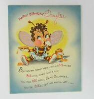 Vtg American Greeting Birthday Card Daughter Bee Die Cut Shiny Crinkle Unused