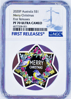 2020 Christmas Tree Star Shaped 1oz .9999 Silver Proof $1 coin NGC PF70 FR