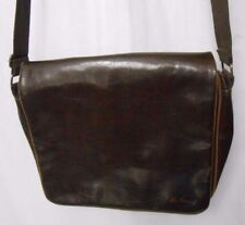 "Ben Sherman Brown Faux Leather & Canvas Shoulder Messenger Bag Satchel 16""x 13"""