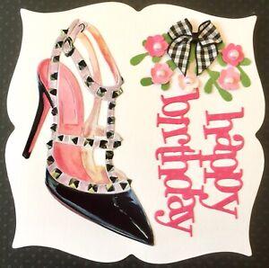 Handmade By Susie Luxury Lady's Designer Gloss Shoe Happy Birthday Card Topper