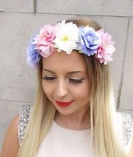 Pink Purple Cream Peony Rose Flower Garland Headband Hair Crown Festival 2815