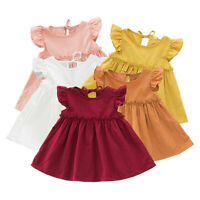 Child Kid Baby Girl Cute Ruffle Solid Linen Elegant Princess Party Dress Clothes