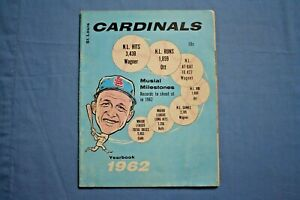 1962 St. Louis Cardinals Yearbook vg-ex condition Stan Musial, Bob Gibson