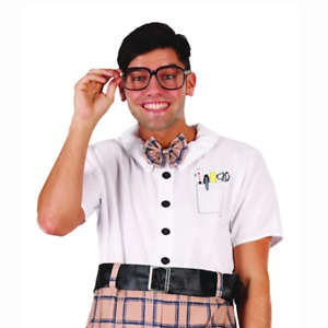 Men Classic Nerd Costume Austin Powers High School Idiot Geek Fool Funny Boy