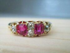 Vintage Edwardian 18ct Yellow Gold Old Mine Cushion Cut Ruby & Diamond Ring