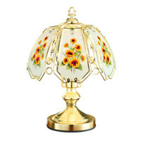 Sunflowers Décor Bedside Touch Lamp with Gold-Tone Base, Artistic Glass Shade