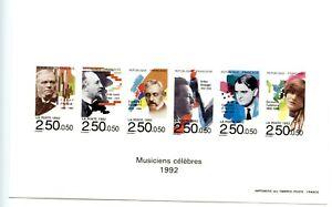 Epreuve collective 1992 MUSICIENS CELEBRES 2747/2752  Non coté Yvert RARE