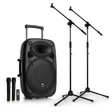 "auna Mobile PA DJ Anlage 15"" USB Bluetooth Lautsprecher  + 2x Mikrofon + Stativ"