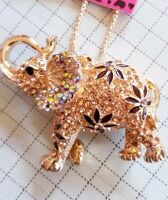 Betsey Johnson AB Rhinestone Cute Thai Elephant Crystal Pendant Chain Necklace
