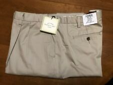 NWT Eddie Bauer Men's Nano-Care Khaki Front Pleats Dress Pants, Size 48 Regular