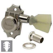NEW Kluson Revolution Locking Tuners Pearloid Keystone Buttons 3x3 Set - NICKEL