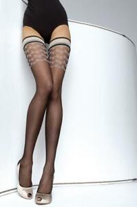 FIORE DIAVA  PATTERNED TOP HOLD UP STOCKINGS 3 SIZE FINE EUROPEAN HOSIERY BLACK