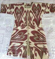 Uzbek handmade Adras women's dress caftan Chapan 00014+