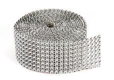 """1.5""""x10 Yards Silver DIAMOND MESH WRAP ROLL SPARKLE RHINESTONE Crystal Ribbon"""