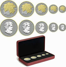 2014 Fractional Set*Canada Maple Leaf Silver 5 Coin 24K Gold Gilded *RCM*Proof*