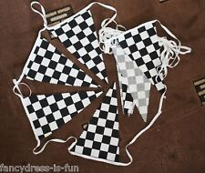 18 foot BLACK WHITE CHEQUERED BUNTING CHECK FABRIC FLAGS