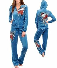 P18 -S/Small- BLUE Stretch,Velour,Tattoo Print,Rhinestones HOODIE JOGGING SET